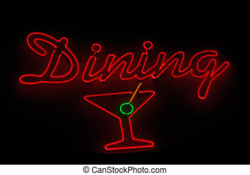 Dining Neon Sign with Martini