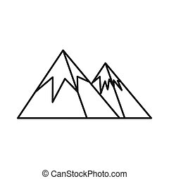Mountains with snow icon, outline style