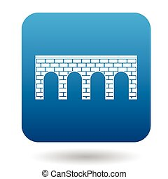 Bridge of brick with arches icon, simple style