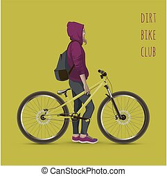 Young girl with a bicycle Background with text and green...