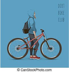 The girl on the mtb bike With text on a blue background