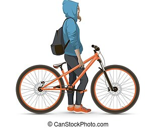 A student with a Bicycle A young girl with a backpack and a...