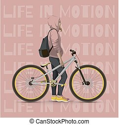 Girl with bicycle Color background with text