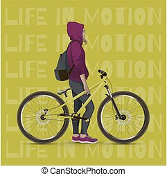Young girl with a bicycle. Background with text and green...