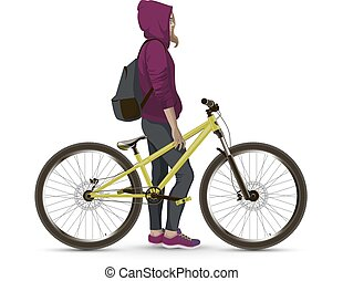 Girl with MTB bike On a white background realistic