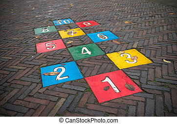 hopscotch game - colorful hopscotch game on a public street