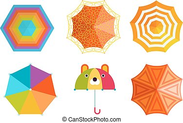 Umbrella vector illustration - Set of cute multi colored...