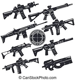 weapon rifle emblem4 - Modern illustration of various...