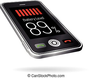 Black smartphone with battery icon.