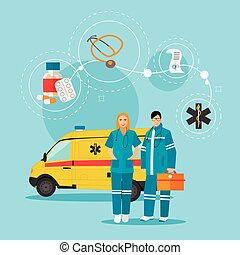 Ambulance car and emergency paramedic team. Vector illustration in flat style design. Medical help concept