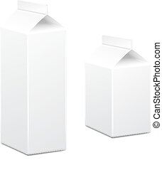 Milk and juice carton box packages blank white, Vector