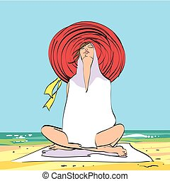 Young woman on the beach, relaxation and meditation