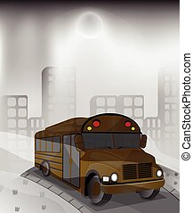 bus in polluted city