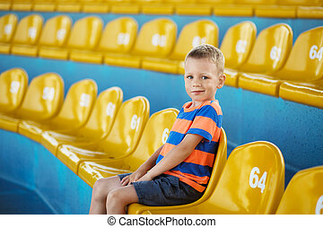 Child take own seat in the stadium or dolphinarium - Little...