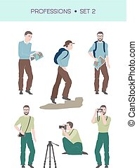 Group of travellers vector set