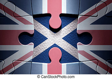 Scottish independence jigsaw puzzle concept - Missing piece...