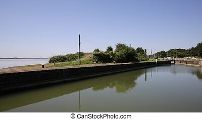 Lydney harbour Gloucestershire England uk on the west bank...