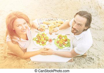 Mature couple outdoor - Toned picture of happy senior couple...