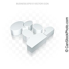 Finance icon: Flat metallic 3d Business Meeting, transparent shadow. EPS 10 vector.