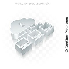 Safety icon: Flat metallic 3d Cloud Network, transparent...