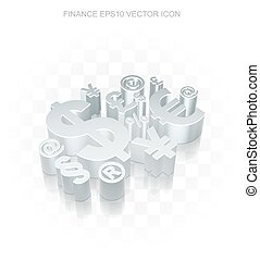 Business icon: Flat metallic 3d Finance Symbol, transparent shadow, EPS 10 vector.