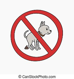 No dog pooping vector sign - No dog pooping information sign...
