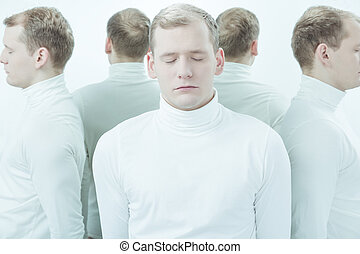 Split personality after drugs - Young man in white clothes...