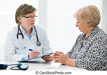 Doctor and patient - Female senior patient tells the doctor...