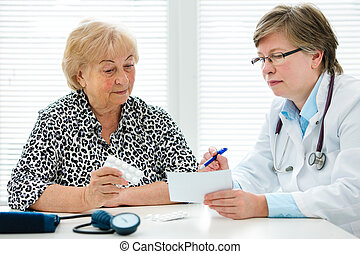 Doctor and patient - Female doctor explaining diagnosis to...