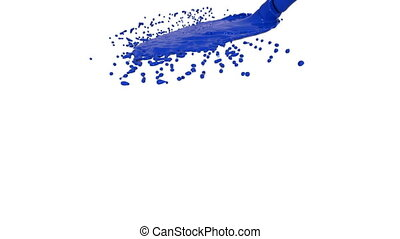 blue fluid stream hits the surface in slow motion - blue...