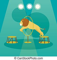 Circus concept vector banner. Acrobats and artists perform show in arena. Animals performance poster