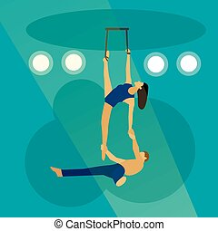 Circus concept vector banner. Acrobats and artists perform show in arena
