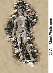David by Michelangelo in front of Palazzo Vecchio, Florence...