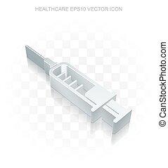Healthcare icon: Flat metallic 3d Syringe, transparent...
