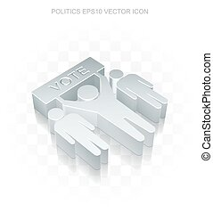 Politics icon: Flat metallic 3d Election, transparent...