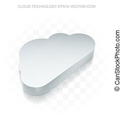 Cloud networking icon: Flat metallic 3d Cloud, transparent...