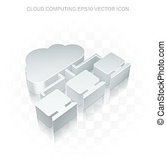 Cloud networking icon: Flat metallic 3d Cloud Network,...