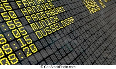 Airport Departure Board (German) - Close-up of an airport...
