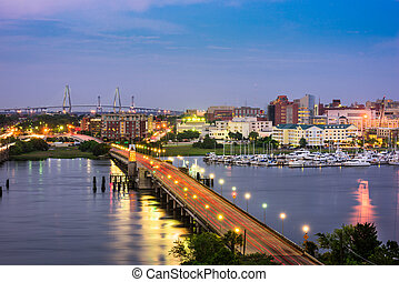 Charleston, South Carolina, USA skyline over the Ashley...