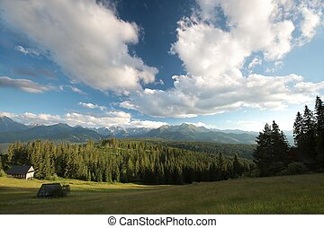 Tatra mountains at dusk - Panorama of the Tatra mountains at...