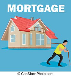 mortgage burden concept, vector illustration