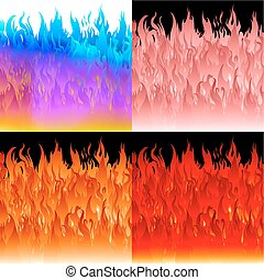 Fire flames background set.