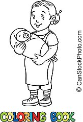 Funny nanny with baby. Coloring book. - Coloring book of...