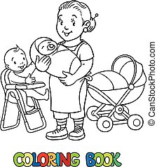 Funny nanny with children. Coloring book. - Coloring book of...