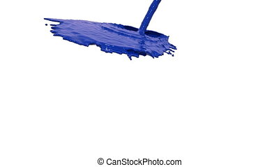 blue liquid flow covers a surface in slow motion