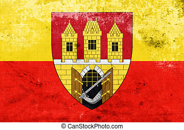 Flag of Prague with Coat of Arms Escutcheon only, Czechia,...