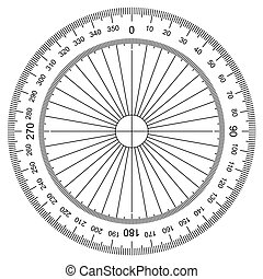 Actual Size Graduation - image of Protractor isolated on...