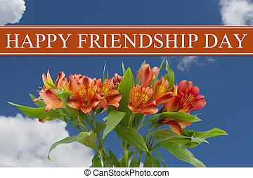 Happy Friendship Day greeting with a orange and yellow...