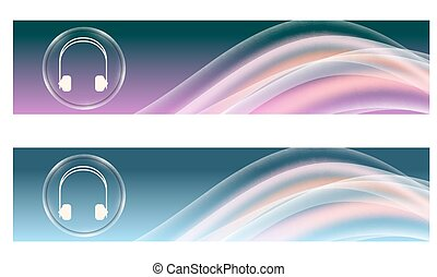 Set of two banners with colored rainbow and headphones