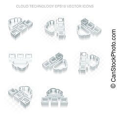 Cloud technology icons set: different views of metallic...